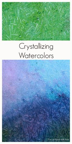 Gorgeous shimmery crystallizing paints that you can make with items found in a grocery store. A new paint recipe from Fun at Home with Kids - epsom salt painting Watercolour Tutorials, Watercolor Techniques, Painting Techniques, Watercolor Paintings, Watercolours, Salt Watercolor, Watercolor Crystal Tutorial, Abstract Watercolor Tutorial, Face Paintings