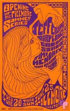Classic Poster - Jefferson Airplane at Fillmore Auditorium 6/20-25/67 by Clifford Charles Seeley