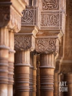 Pillars, Courtyard of the Lions, Comares Palace, Alhambra, Granada, Spain Photographic Print by Manuel Cohen at Art.com