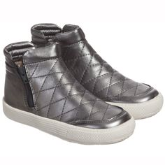 Old Soles - Rich Silver Quilted Leather 'Daley' Zip Trainer Boots…