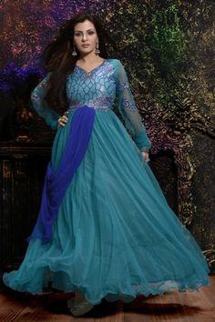 Occasional Wear Sky Blue Color Designer Gown