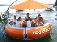 party boat for a lake with a cooler and a grill. thats legit..