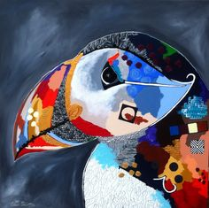 'Papegaaiduiker', acryl op doek, afmeting 120x120 by Ester Steintjes