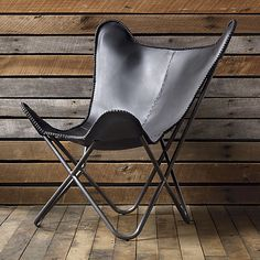 1938 black leather butterfly chair | CB2