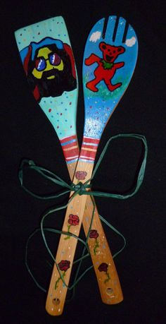 Grateful Dead dancing bear and Jerry Garcia hand painted wooden spoon