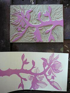 Reduction Print: Linoleum Block Becomes a Magnolia Branch
