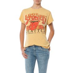 MadeWorn Rolling Stones 1981 Tee ($160) ❤ liked on Polyvore featuring tops, t-shirts, mustard, roll top, rolled up t shirt, mustard top, stoner t shirts and stone top