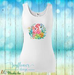 flamingo - divatos fazonú feliratos női trikó vízfesték hatású grafikával gyönyörű nyárias színekben Graphic Tank, Tropical, Spandex, Tank Tops, Women, Fashion, Moda, Halter Tops, Fashion Styles