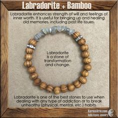 Mantra: I welcome transformation into my life. - 5mm - 10mm Labradorite Freeform Rondelles - 8mm Bamboo Balls - Vintage Antique Gold Crystal Rondelles - Commercial Strength, Latex Free Elastic Band -