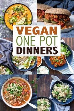 These vegan one pot meals are the perfect choice for those busy nights. If you aren't a fan of washing loads of dishes, then these are for you! #onepotmeals #easydinnerrecipes One Pot Dinners, Pasta Dinners, Vegan Dinners, Weeknight Dinners, Veggie Recipes, Beef Recipes, Vegetarian Recipes, Dinner Recipes, Veggie Meals