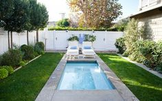 Spruce Up Your Small Backyard With A Swimming Pool – 19 Design Ideas. Could use artificial grass.