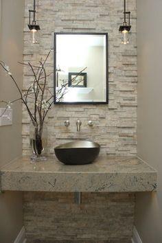 Koko Beverly Hills - Powder room renovation - transitional - Powder Room - Detroit - Lark Interior D Bathroom Design Luxury, Bathroom Design Small, Modern Bathroom, Powder Room Decor, Powder Room Design, Modern Powder Rooms, Washbasin Design, Bathroom Remodel Cost, Bathroom Inspiration