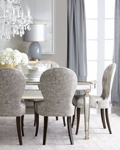 John-Richard Collection Cara Dining Chair & Eliza Antiqued Mirrored Dining Table