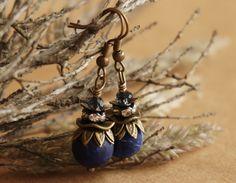 "Bohemian ""Wild Blueberry"" Dangle Earrings,Boho Chic Bohemian Gypsy Rustic Crystal Beaded Navy Royal Blue Sodalite Earrings,Gift Women ByLEXY by ByLEXY on Etsy"