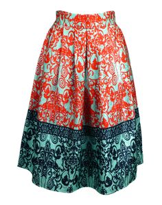 Wedding and special occasion outfits- Shikha London Turquoise and Red Floral Midi Skirt
