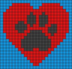 Heart and dog / cat paw print design bead loom or square stitch pattern. Beaded jewellery making Alpha Patterns, Loom Patterns, Beading Patterns, Pixel Crochet, Crochet Chart, Pixel Pattern, Dog Pattern, Cross Stitch Heart, Cross Stitch Animals