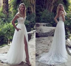 Lace Boho Off the shoulder Cap Sleeves Long Country Slit Wedding Gown, Beach Wedding Dress OK242