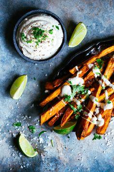 Sweet potato fries with tahini garlic dip. #vegan