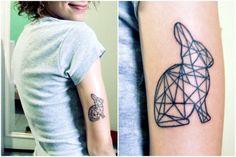Rabbit tattoo on a girl named Alice Bunny Tattoos, Rabbit Tattoos, Animal Tattoos, Black Ink Tattoos, Up Tattoos, Tatoos, Hase Tattoos, Pixel Tattoo, White Rabbit Tattoo
