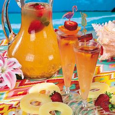 Summer Pineapple Strawberry Cooler   Ingredients:  1 12-ounce can frozen pineapple juice concentrate, thawed 1 6-ounce can frozen limeade concentrate, thawed 4 cups cold water * 1 liter club soda, chilled Ice cubes Fresh strawberries (optional) Short (6-inch) wooden skewers Assorted fruits such as halved orange slices, halved lime slices, orange sections, raspberries, strawberries, sliced kiwifruit, and mint sprigs  Combine liquid ingredients and add ice.