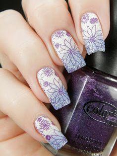 Better Nail Day: Hiekkakamu. Stamping nail art using Color Club holographic nail polish.  Flowers.