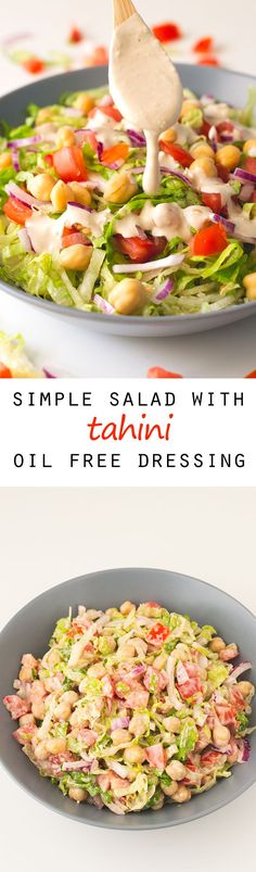 Simple Salad with Tahini Oil Free Dressing #vegan #glutenfree