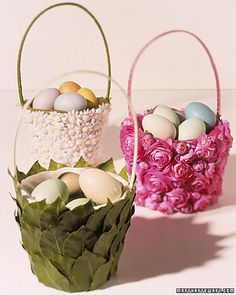 "Flowered Easter Baskets - I have made several of these for my niece over the years and they are adorable!  I did add a ribbon bow to each side of the handle to ""girlie it up"" a little more."