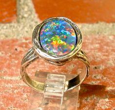 Unisex Genuine Australian Natural Opal ring. Handmade Natural Style setting. S.S., 14K Gold, 10K Gold, Large 14x10mm Natural Opal Triplet
