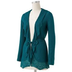 ELLE Pointelle Open-Front Cardigan ($30) ❤ liked on Polyvore