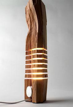 Holz Deko Tisch Lampe rustikaler Look Möbel