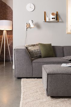 Zuiver meubles hollandais avec design et style - Clem Around The Corner Painting Concrete, Upholstered Sofa, White Paints, Grey And White, Upholstery, Area Rugs, Carpet, Cushions, Couch