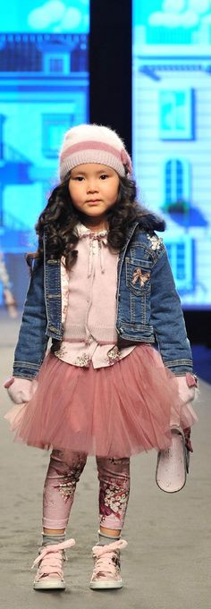 Monnalisa Girls Denim Jacket & Pink Tulle Skirt Streetwear Look from the Fall Winter 2018 Fashion Show in Florence, Italy. Cute & Pretty Pink Sweater, Pink Tulle Skirt, Denim Jacket & Cool Knit Hat for the Fall Winter 2018 Collection. Adorable Casual Outfit for Kid, Tween, Teen Girls. Cool, Comfy & Stylish Outfit Perfect for a Party or Streetwear Look. #monnalisa #girlsclothes #girlsclothing #girlsfashion #kidsfashion #fashionkids #childrensclothes