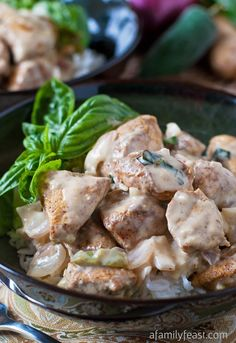 Basil Chicken in Coconut-Curry Sauce - Super flavorful chicken in a creamy coconut curry sauce. You will love this recipe!