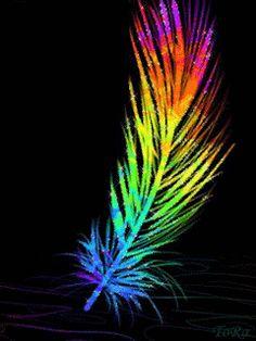 Feather Rainbow Sky, Taste The Rainbow, Rainbow Unicorn, Over The Rainbow, Rainbow Colors, Waving Gif, No Bad Days, Rainbow Connection, Neon