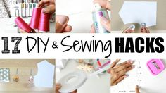 17 DIY & Sewing Hacks plus tips. Everything from an easy way to thread a serger to DIY pattern weights. Let me know what are some of your fave hacks/tips/advice Easy Sewing Projects, Sewing Projects For Beginners, Sewing Hacks, Sewing Tutorials, Sewing Crafts, Sewing Tips, Sewing Ideas, Turban Hijab, Diy Bralette