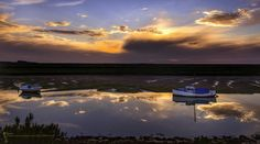 Reflections at Burnham Overy Staithe Burnham, Photography Photos, Norfolk, Reflection, Clouds, Celestial, Explore, Sunset, Face