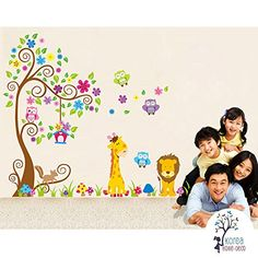 Korea Home Deco Huge Wall Decals Decor for Kids Baby Children Room Bedroom Nursery Kindergarten  Peel  Stick Removable Vinyl Wall Stickers  Tree Cute Animals Giraffe Lion Owl and Colorful Flowers * Want to know more, click on the image.(It is Amazon affiliate link) #developer