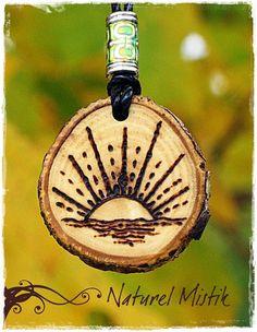 Woodburned Walnut Pendant Necklace by NaturelMistik on Etsy, $18.00