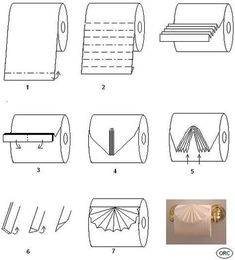 Toilet paper origami is the origami-style folidng of toilet paper. Includes the folding while still on the toilet roll,; the folding of individual sheets; and toilet paper wedding dresses Diy Origami, Toilet Paper Origami, Napkin Origami, Towel Origami, Toilet Paper Crafts, Napkin Folding, Toilet Paper Roll, Origami Tutorial, Paper Folding