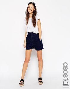 Image 1 ofASOS TALL High Waisted Denim Shorts in Indigo