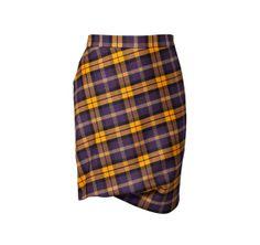 Vivienne Westwood   Taxi Yellow and Plum Tartan Skirt   ModeWalk