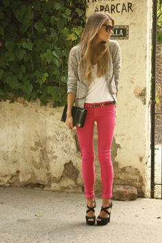 pink skinny jeans + greige lace top