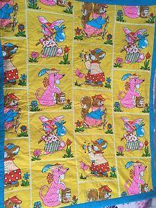 Vtg RARE 1960s Groovy Bright Baby Quilted Crib Blanket Kitsch Novelty Woodland   eBay