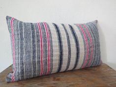 """Vintage Hemp  ,20""""x12""""Vintage Textile Decorative Cushion cover, Lumbar Pillow-Tradition Ethnic fabric from Thailand"""