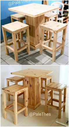 Delightful DIY Wood Pallet Home Furniture Designs: Wood pallets have been around for decades as mechanisms for shipping and storing larger items. Recently, however, shipping pallets. Diy Pallet Furniture, Small Furniture, Diy Pallet Projects, Bar Furniture, Rustic Furniture, Wood Projects, Furniture Design, Pallet Ideas, Balcony Furniture