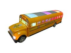 Green School Bus Bump And Go Action  Beautiful 3D Flashing Lights And Musical Sounds  School Bus Toy For Kids 3  Up ** Read more reviews of the product by visiting the link on the image.