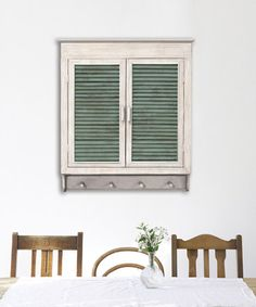 This White & Green Louvered Cabinet is perfect! #zulilyfinds