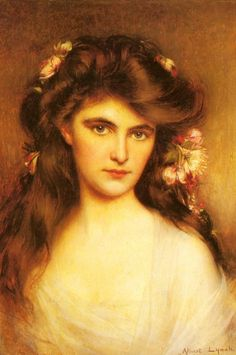 """A Young Beauty With Flowers In Her Hair.Albert Lynch (Peru, 1851–1912). Lynch specialised in painting female subjects to which he brought a charming elegance and sophistication typical of such belle epoque paintings. He provided illustrations for two books, """"La Dame aux Camelias"""" by Dumas fils and """"La Parisienne"""" by Henry Becque."""