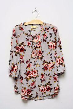 Princess By Vera Wang Sheer Gray Floral Tunic Blouse Top Neck Ties Size XL…