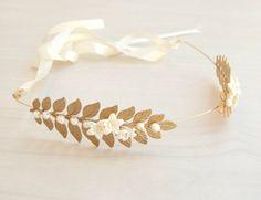 Gold Leaf Headband  Grecian Headband Bridal Hair by YaelSteinberg, $120.00